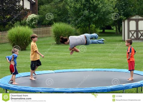 Kids On Trampoline Royalty Free Stock Images   Image: 1213099