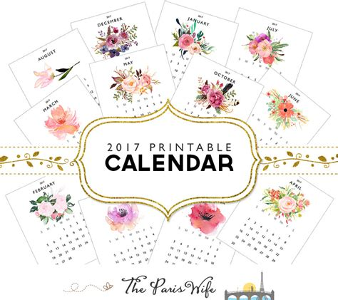 printable calendar etsy 2017 monthly printable calendar instant download 2017 monthly