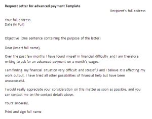 letter format for advance payment from company request letter for advanced payment request letter sles