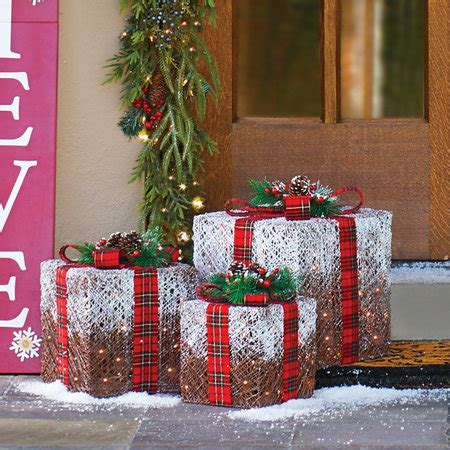 cheap outdoor lighted decorations frosted lighted presents outdoor decorations set