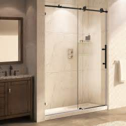 frameless sliding shower door rubbed bronze trident mocha 76 quot x 56 60 quot frameless sliding rubbed