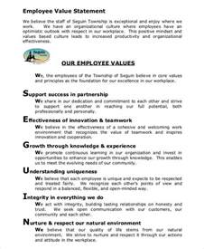 values statement template 6 value statement exles sles
