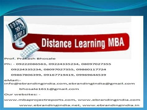 Mba Ireland Distance Learning by Mba Project Report Of Symbiosis Centre For Distance