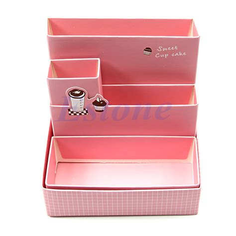 Desk Makeup Organizer Diy Paper Board Storage Box Desk Decor Stationery Makeup Cosmetic Organizer New Ebay