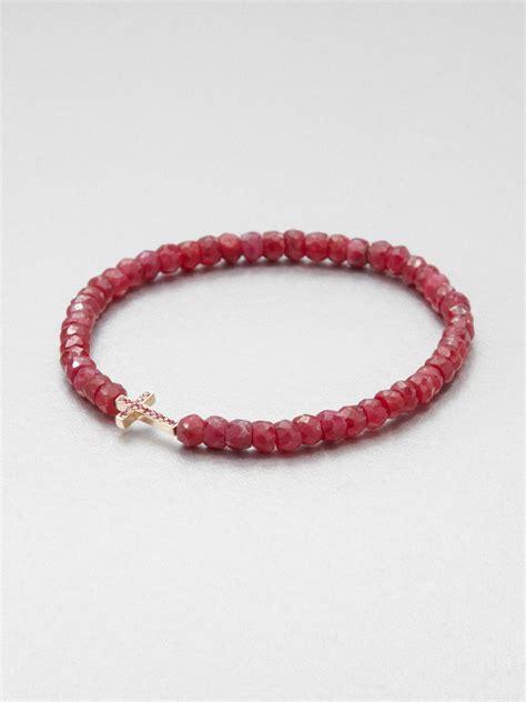 beaded stretch bracelets sydney evan 14k gold ruby beaded stretch bracelet