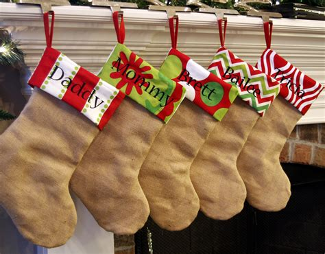 monogrammed christmas stockings personalized christmas stockings natural burlap by