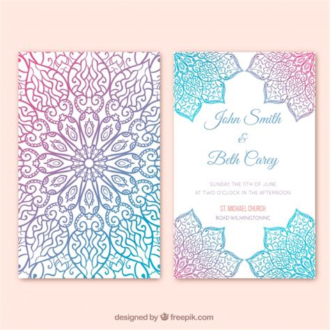multicolor wedding card mandala design vector free download