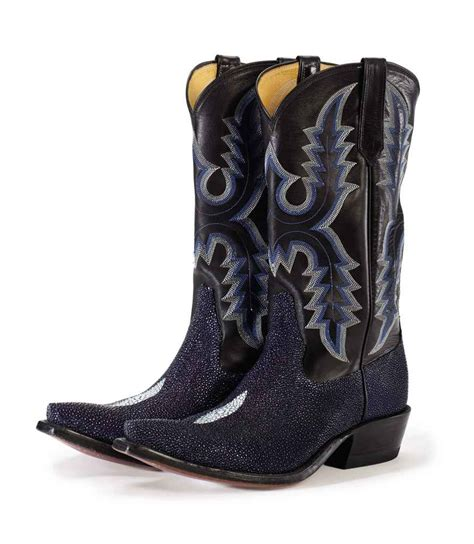 stingray cowboy boots a pair of electric blue stingray and black leather cowboy