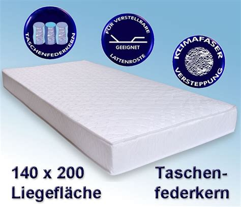 Matratze 140 X 2 M by Matratze Avance 140x200cm Taschenfederkernmatratze