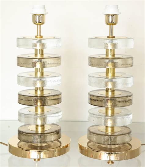 clear glass stacked table l pair of stacked murano gold and clear glass table ls