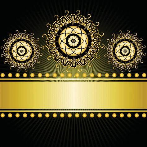 Harga Murah Decorative Black Flower 5m gilt border with three circular ornaments on a black background stock vector colourbox