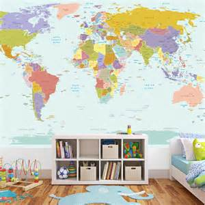 Map Of World Wall Sticker World Map Wallpaper Mural For Kids Room