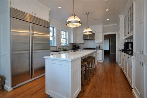 Narrow Galley Kitchen Design Ideas by Two Story Addition Traditional Kitchen New York By