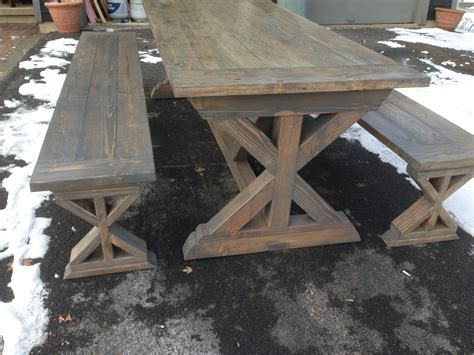 farmhouse table benches ana white x base farmhouse table and benches diy projects