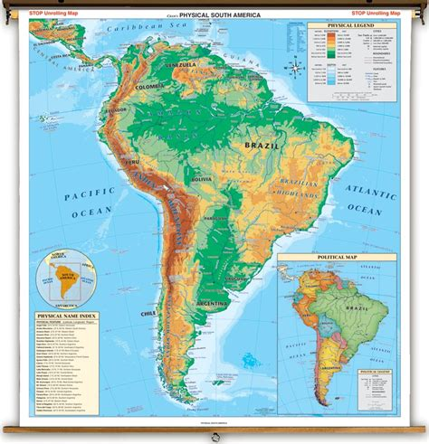 south america physical political map physical south america map