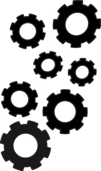 cogs collection black clip art  clkercom vector clip