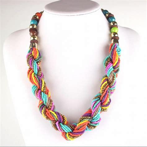 colorful necklaces handmade small strand twisted summer colorful