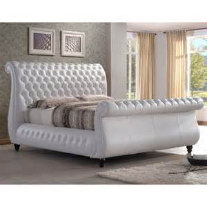 King Size Bed To Buy Uk Swan 5ft King Size White Real Leather Bed Cheapest Swan