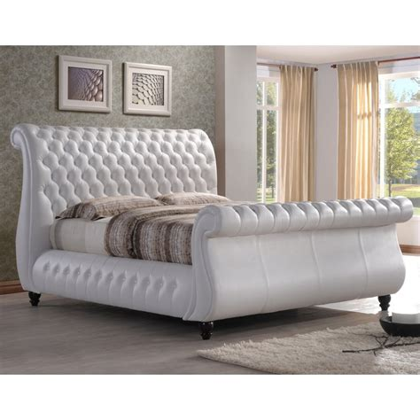 Swan 5ft king size white real leather bed   cheapest Swan