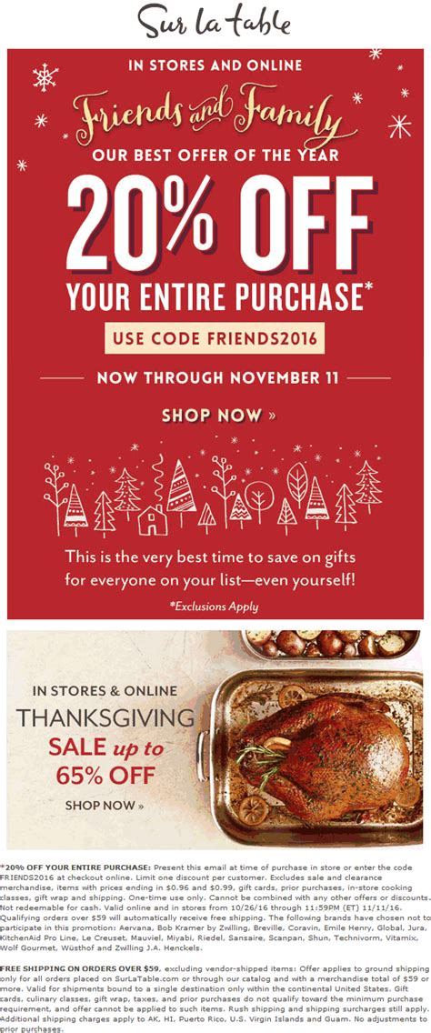 sur la table coupons 20 at sur la table or