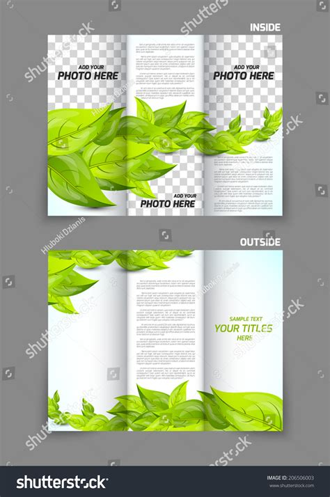 brochure template nature green leaves trifold nature spring brochure stock vector