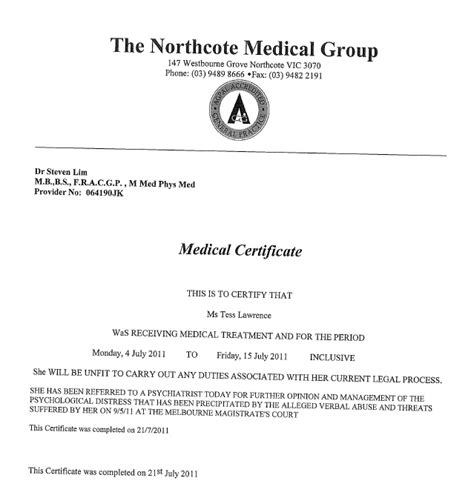 medical certificate template australia hospital medical