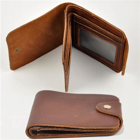 H Mes Wallet handmade retro leather wallet mens thick
