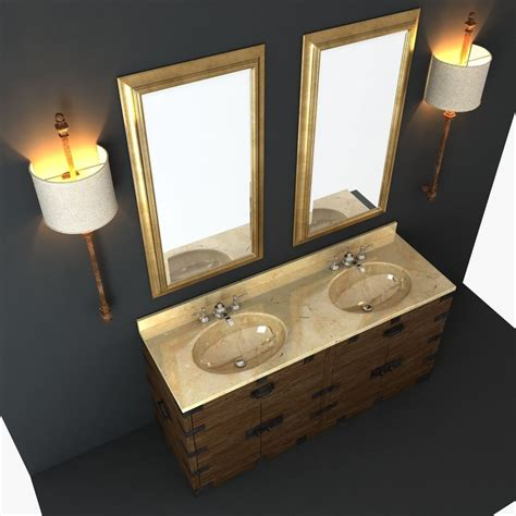 Restoration Hardware Pharmacy Frosted Glass 3d Max Restoration Hardware Bathroom Furniture Rooms