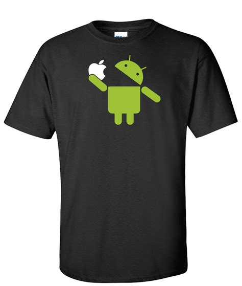 Tshirt Androit by Android Eats Apple Logo Graphic T Shirt Supergraphictees