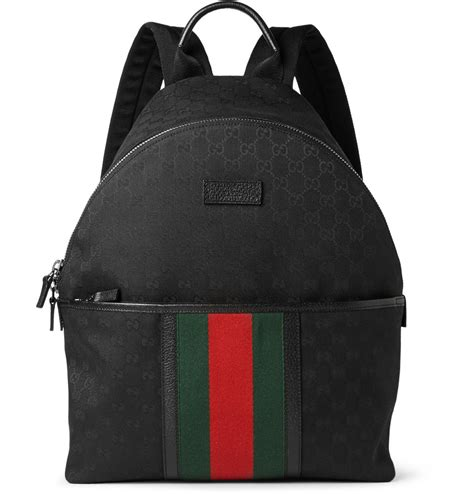 Canvas Backpack Black lyst gucci leather trimmed canvas backpack in black for