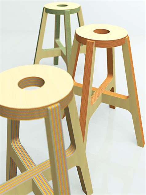 Stool Design by Drill Design Paper Wood Stool