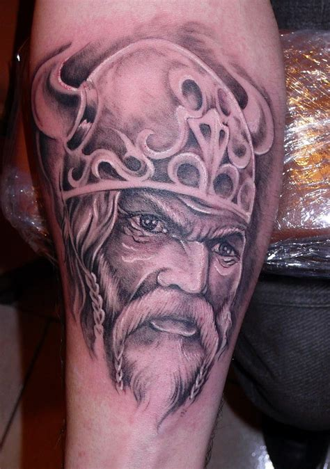 viking skull tattoos portrait of a viking in horned helmet by fpista