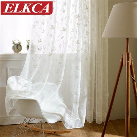korean white embroidered voile curtains linen feeling