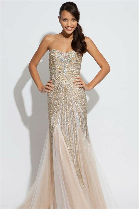 Found Ports Beaded Dress by Jovani Strapless Beaded Dress Gorgeous Evening Gown