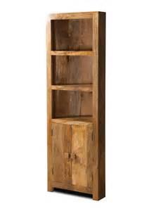 Dakota light mango corner bookcase shelves cupboard solid wood indian