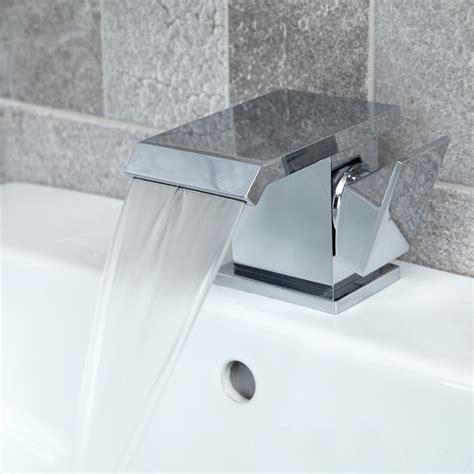 bathroom basin taps uk aqua waterfall basin mixer tap