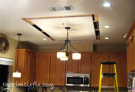 Replace Kitchen Ceiling Lights Hometalk Replacing Updating Fluorescent Ceiling Box