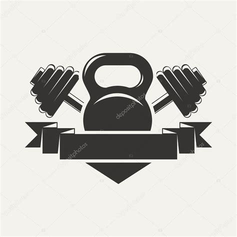 T Shirt Logo Rusa kettlebell e haltere logotipo baner vetor de stock