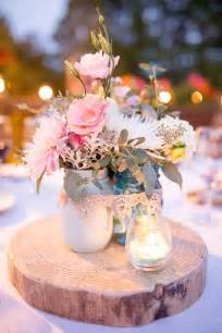 rustic pink wedding centerpiece shabby chic wedding idea