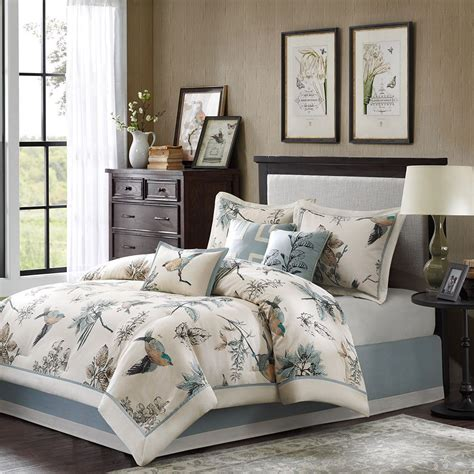 blue patterned bedspread king size birds leaf floral print comforter set blue ivory
