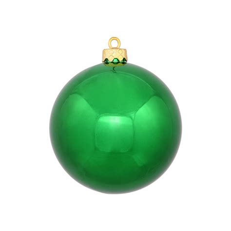green ball ornaments 4 quot shiny set of 6
