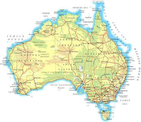 map of ausralia large physical map of australia with roads and cities