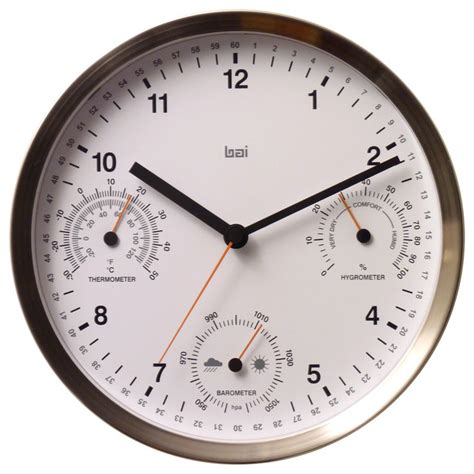 """10"""" Brushed Stainless Steel Weather Station Wall Clock White   Wall Clocks   by BAI DESIGN INC."""