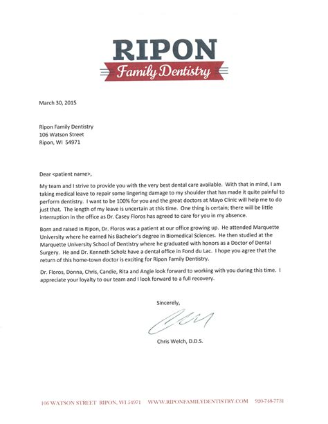 Patient Letter Leaving Practice Dr Casey Floros Comes To Ripon Family Dentistry Ripon Family Dentistry Ripon Wi Dentist