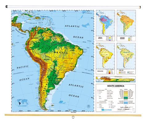 south america desk map sculptural relief continents and regions map series