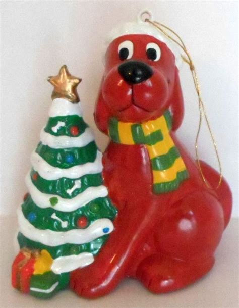 christmas ornament clifford the big red dog striped scarf