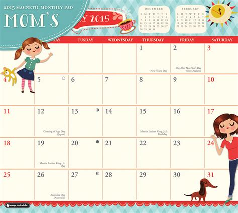 2015 Monthly Calendar With Holidays 8 Best Images Of 2015 2016 Printable Calendar With