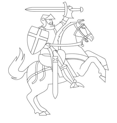 coloring pages of knights and horses rearing o his in middle ages coloring page