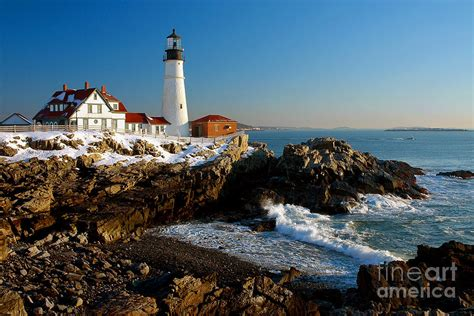 portland light lighthouse seascape landscape rocky