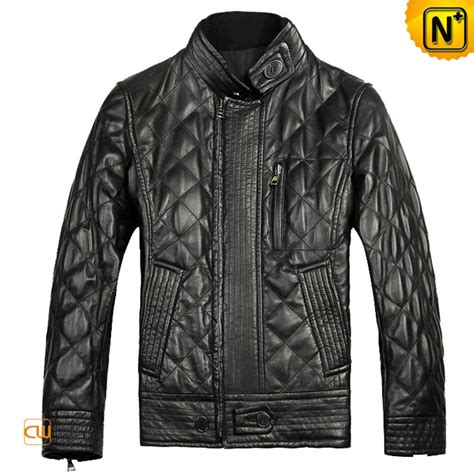 Quilted Leather Jackets by Mens Black Quilted Sheepskin Leather Jackets Cw804052